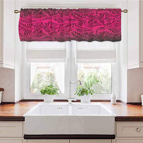 Adorise Window Curtain Valance Trees Hawaiian Forest Tropic Island Theme Leaves Ombre Artwork Image Print Magenta Black Blackout Window Valance for Bedroom, Living Room, Kitchen 54 x 18 Inch