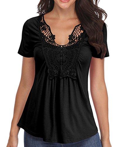 Blusas de Las señoras Camisas de Mujer Negro Sexy Cuello en v Túnicas Mangas Cortas Casual Cintura Fruncido - M