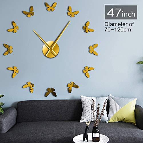 Gudojk Kleine vlinder 3D DIY acryl eenvoudige spiegel oppervlak wandklok geschenk dier voor kinderen uniek stil zelfklevend klok