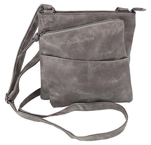 Jennifer Jones Taschen Damen Damentasche Handtasche Schultertasche Umhängetasche Tasche klein Crossbody Bag grau / anthrazit (3106)