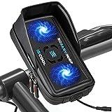 So Easy Rider 9 en 1 Universal Soporte Móvil para Moto Inteligente 360 Grado Soporte Teléfono Bicicleta con Cargador USB y Ventilador,Bolsa Manillar Impermeable para 4.3'-6.3' iPhone Galaxy Huawei