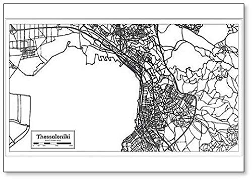 Thessaloniki Griekenland City Map in Retro Style. Outline Map Classic Koelkast Magneet