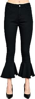 ANNA-KACI Womens Bell Bottom Jeans Classic Retro High Waist Cropped Flared Denim Pants
