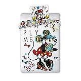Minnie Mouse Disney - Juego de funda nórdica reversible y funda de almohada (100% algodón)