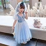 SUNXC Princesa Disfraz Traje Parte Las Niñas Vestido, Vestido de Princesa con Mangas abullonadas de Frozen Aisha-One_140cm, Niñas Traje Fiesta De Cumpleaños