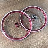 TYXTYX Ejes de liberación rápida Accesorio para Bicicleta 14 16 Pulgadas BMX Juego de Ruedas para Bicicleta Freno de llanta Bicicleta Plegable Rueda Delantera y Trasera con Rueda Dentada 9 13 17T B