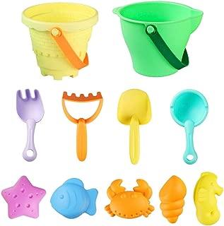 DX DA XIN Beach Sand Toys, Toddler Outdoor Pool Bath Play Set Sandbox Toys with Shovel, Bucket, Rakes and Mold, Fun Beach Toys for Toddlers Kids Boys Girls (11 Pcs)