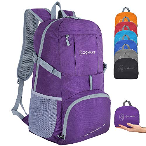 ZOMAKE Lightweight Foldable Backpack 35L, Water Resistant Rucksack, Unisex Nylon Daypack for Travel Hiking Cycling Outdoor Sport (Purple)
