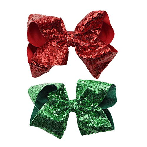 MSSD Party Hair Bows Clips 2pcs Large Bling Sparkly Glitter Sequins Alligator Nylon Mesh Ribbon Bowknot Hairpins for Baby Girls Kids Children Christmas Red Green