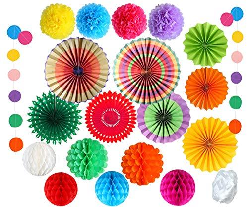 EDATOFLY 20 Stück Party Dekoration Bunte Papier Pompoms Hanging Paper Fans Blume Honeycomb Balls Rainbow Glitter Punkt Girlande für Hauptdekorationen Hochzeit Geburtstag Festival Weihnachten
