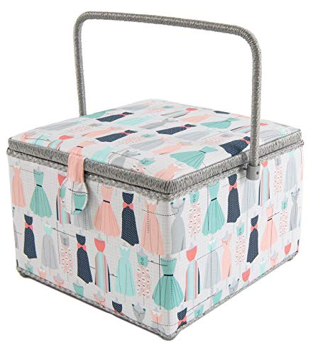 """Dritz St. Jane Square Sewing Basket Box with Plastic Tray Organizer (Extra Large Square 11.75"""" x 11.75"""" x 8.5"""", Dresses)"""