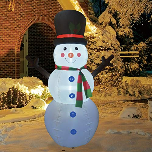 GOOSH 6Foot High Christmas Inflatable Blow up Snowman Yard with Build in LED Light Decoration, Indoor Outdoor Garden Inflatable Christmas Decoration.