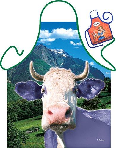 Lila Kuh Motiv Kochschürze Alpen Alm bunte Kuh Schürze : Lila Kuh -- Themenschürze mit Minischürze für Flaschen