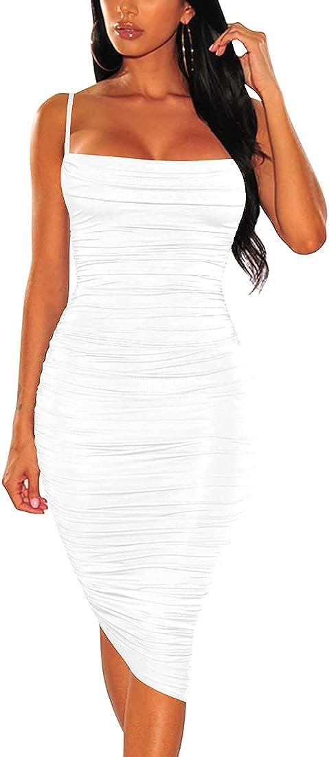 BEAGIMEG Women's Ruched Backless Spaghetti Strap Bodycon Party Club Midi Dress