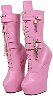 Mid Calf Heelless Lockable Boots Women Hoof Shoes Ladies Custom Fetish Thick Heels