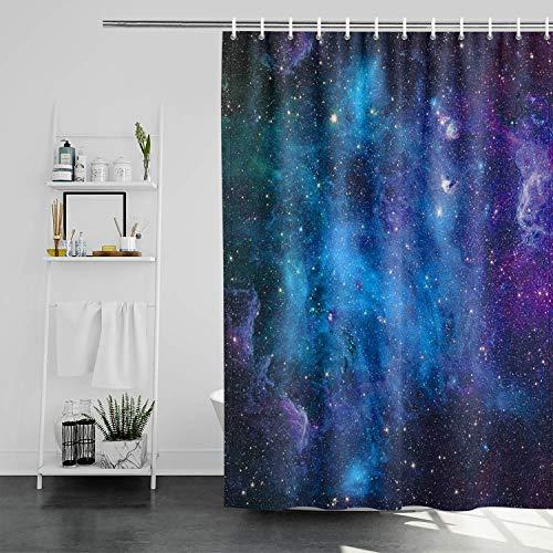 Galaxy Space Shower Curtain Mystic Stars Starry Sky Shower Curtain Fantasy Universe Planets Nebula Bath Curtains Blue Fabric Bathroom Bathtub Decor with Hooks