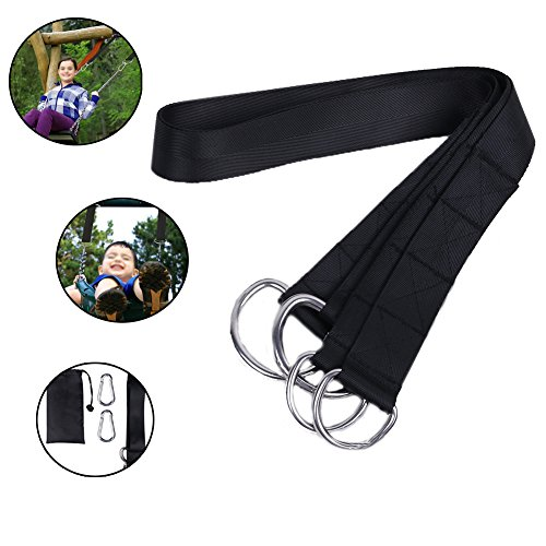Ferdira Tree Swing Hanging Kit - Extra Long 10ft Hang Swing Straps for Swings and Hammocks Holds 440 lbs - 2 Swing Straps and 2 Safety Lock Carabiner Hooks
