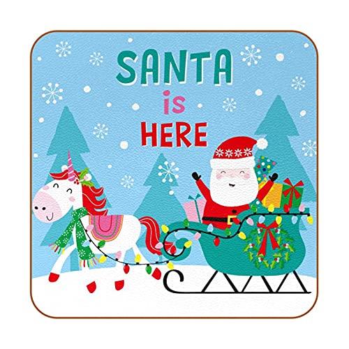 BENNIGIRY Santa Is Here - Juego de 6 manteles individuales de piel para tazas