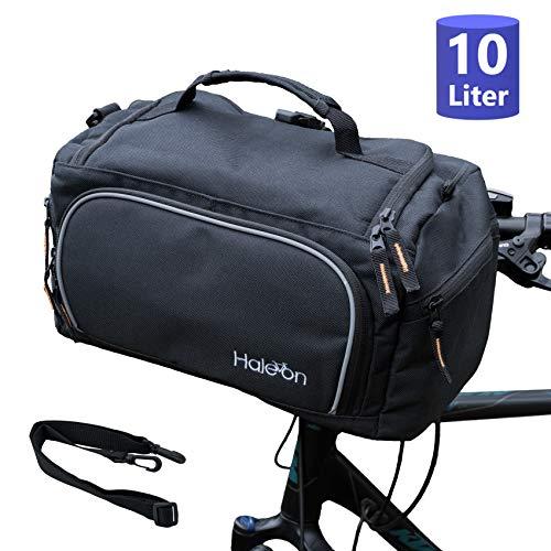 Haleon Fahrrad Lenkertasche Wasserdicht groß 10L, klick Fahrradtasche für Lenker 20-26 mm, zum abnehmen und umhängen, 35 x 18 x 19 cm