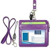 Wisdompro portabadge con cerniera, orientamento orizzontale, utilizzabile sui due lati, in pelle Poliuretano, con 1 cordoncino da appendere al collo in Poliuretano da 48 cm Purple