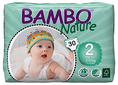Bambo Nature Eco Friendly Baby Diapers Classic for Sensitive Skin, Size 2 (7-13 lbs), 30 Count