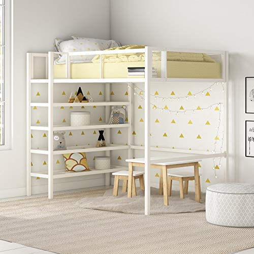Product Image of the DHP Tiffany Metal Storage Bookcase, Twin Bunk Bed, White Loft