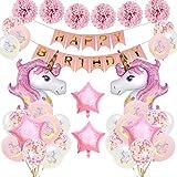 SPECOOL Unicornio Decoración de cumpleaños para niña, Rosa Feliz...