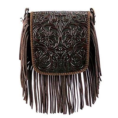 Montana West Genuine Leather Handcrafted Crossbody Handbag Purse Light Bundle (Coral Tooled Fringe 1)