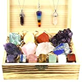 Nvzi Premium Healing Crystals Kitin Wooden Box, 18 Natural Healing Crystals Set in Wooden Box Tumbled Gemstones, Wiccan Supplies and Tools, Crystals for Witchcraft, Crystal Kit, Quartz Crystals