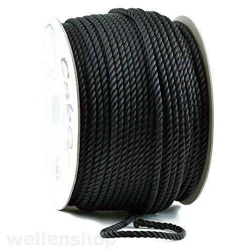 wellenshop Ankerleine 3-schäftig gedreht Ø 10mm 20m Schwarz Polyester, für Ankerwinden geeignet, Bootsleine Tau Ankerseil Festmacher
