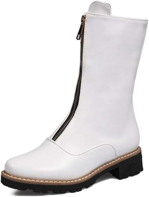 T-JULY Women Half Short Flats Boots Fashion Zipper Mid Calf Boots Winter Warm Fur Short Boots