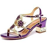 CHLDDHC - Sandali da donna con tacco alto, motivo floreale, con fibbia alla caviglia
