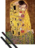1art1 Gustav Klimt Póster (91x61 cm) El Beso, 1908 Y 1 Lote De 2 Varillas Negras