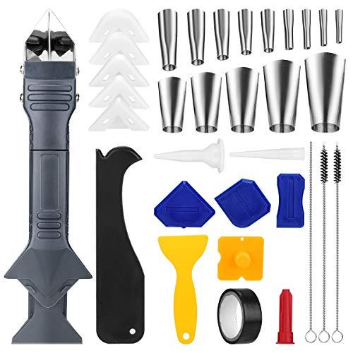 33Pcs Silicone Caulking Tools Kit ,Caulking Nozzle Applicator Set Sealant...