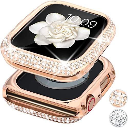wlooo Glitter Diamante Funda para Apple Watch Serie 5/4 44mm, Bling Cristal Shiny Niñas Mujeres Carcasa Metal Inoxidable Protectora Anti-Arañazos Case Cover para iWatch Serie 5 4 (44mm, Oro Rosa)