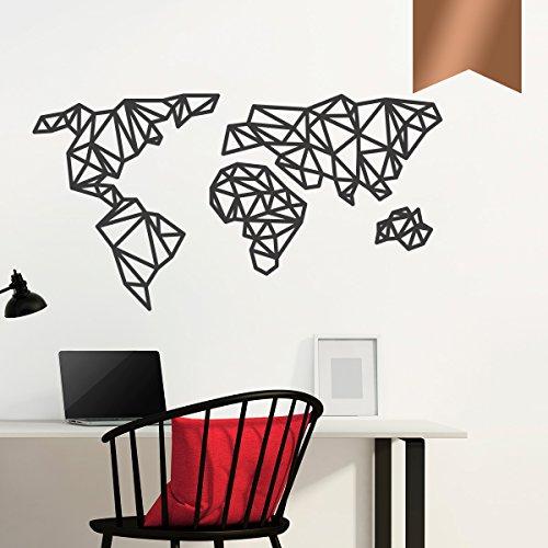 WANDKINGS Wandtattoo - Origami-Style Weltkarte - 90 x 48 cm - Kupfer - Wähle aus 5 Größen & 35 Farben
