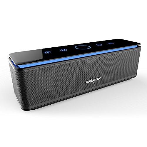 Bluetooth Lautsprecher mit Vier Treiber Zealot Tragbarer 26W Bluetooth Speaker, 24h Spielzeit, IPX5 Wasserdicht, 10000mAh Power Bank und Freisprechfunktion (Schwarz)