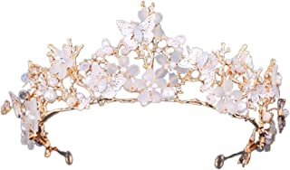 MineSign Queen Crown Princess Rhinestone Tiaras Brides Hair Headband Women Gold Crowns for Wedding Pageant Birthday Party Butterfly