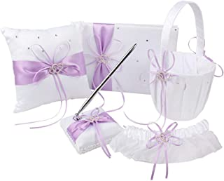 KANECH 5pcs Sets-Light Purple Satin-Wedding Flower Girl Basket and Ring Bearer Pillow Set (Ring Pillow + Flower Girl Basket + Wedding Guest Book +Pen Set + Garter Cover)