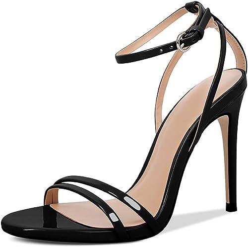 Jayvee Chaussures D'été pour Femmes en Cuir Européen Et Américain pour Femmes,noir-34