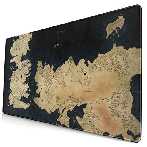 Song Art Game of Thrones Map of Westeros Mouse Pads, Non-Slip Rubber Mouse Pads, Office Supplies, Desk Decoration, Laptop Mouse Pads 12x24 Inches.