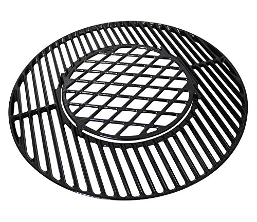 Hongso 8835 22 inch Polished Porcelain Coated Cast Iron Grill Grates for Weber 225 inches OneTouch Silver BarBKettle MasterTouch and OneTouchPCH835