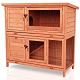Pirecart 42.3 Rabbit Hutch, Wooden Two Story Bunny Poultry Cage , Large Hamster House, with Non-Slip Ramp, Weather-Proof Roof, Removable Tray, for Indoor, Outdoor, Pet, Small Animals, Guinea Pig