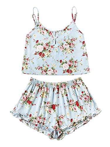 SheIn Women's Summer Floral Print Cami Top and Shorts Pajamas Set Medium Blue