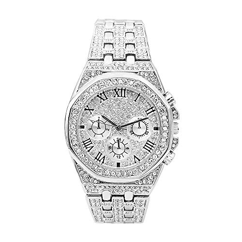 Hip Hop Uhren für Männer Iced Out Diamonds Bling Bling Uhr Armbanduhr Silber/Gold