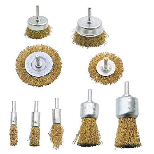 Wire Brush Wheel Cup Brush Set, 9 Pieces Wire Brush for Drill 1/4 Inch Shank, Coarse Brass Coated Crimped Wire Brushes for Cleaning Rust, Flakes and Abrasives Drill Attachment
