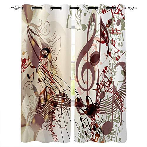 Gaepni Cortinas Aislantes Nota Musical 2 Unidades Opacas Cortina Térmica Visillo 100% Poliéster234Cm X 183Cm