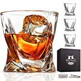 Whiskey Glass Set of 4 - Lead-Free Crystal Clear Scotch Glasses 10 oz Glassware with Luxury Gift Box & 4 Drink Coasters & 1 Ice Tong for Drinking Bourbon Malt Cognac Irish Whisky