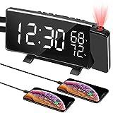 PEYOU Radio Réveil à Projection,Horloge Numérique FM USB avec Double Alarmes,Commutation 3 Couleurs,Fonction Snooze,Minuterie D'arrêt,12/24H,Double Port USB,7 '' Grand écran LED avec Dimmer