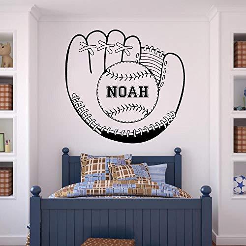 wopiaol spiegel muur Stickers grote beweegbare muurschildering honkbal handschoen met bal aangepaste naam jongens gepersonaliseerd sport fans 60X57 Cm